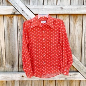 Vintage K-Mart Red Floral Womens Button Down Shirt